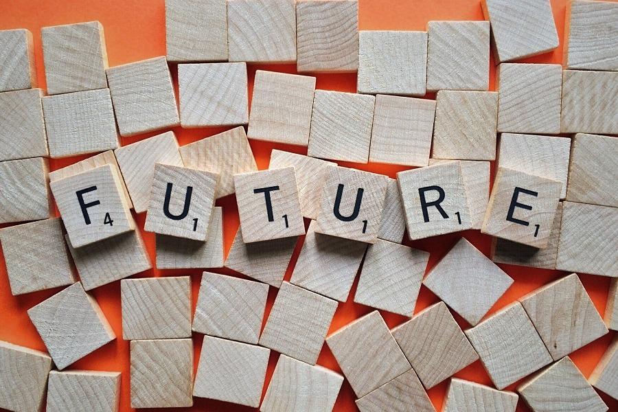 foto van het woord future in scrabble stenen